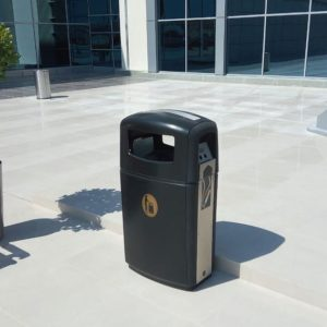 integro commercial waste bin with cigarette disposal by glasdon site furniture