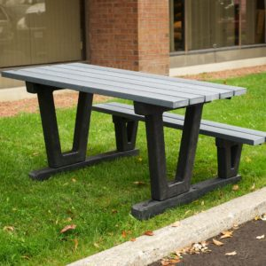 accessible picnic table with bench on one side to allow for wheelchair access