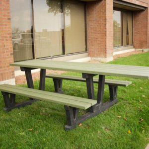 wheelchair accessible picnic table with extended table top in green