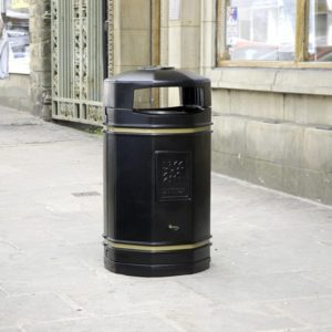 steel litter bin with two gold bands