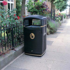 futuro waste bin with cigarette disposal and gold branding by glasdon site furniture