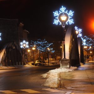 snow flurry pole displays galt on the grand