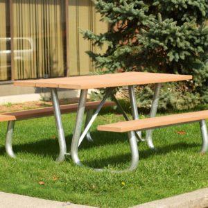 galvanized v frame picnic table with sand slats