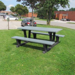 recycled plastic picnic table in blue with 6 foot table top