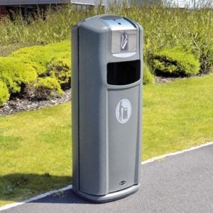 integro city commercial waste bin with cigarette disposal from glasdon site furniture