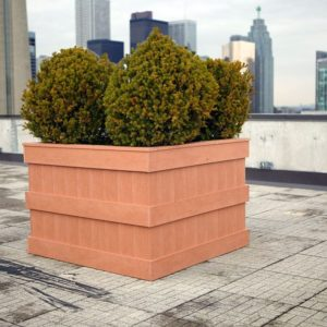 custom flower planter for rooftop patio of a condo building in downtown toronto