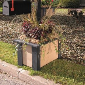 rectangular flower planter made from recycled plastic and a steel frame