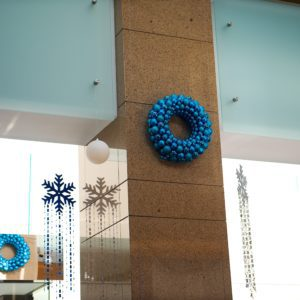 custom christmas lobby display