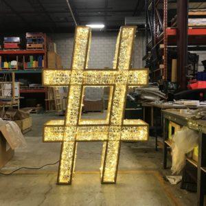 3d illuminated hashtag