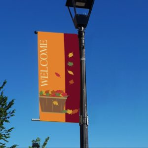 fall leaves welcome banner