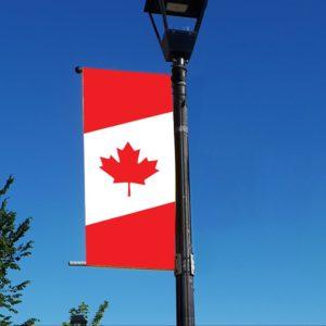diagonal Canadian flag banner
