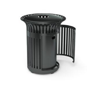 commercial steel litter bin with ergonomic side opening door