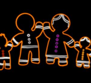 Gingerbread Family Illuminated Display