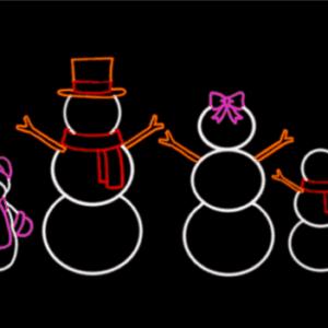 illuminated snowman family