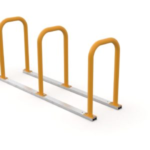 bike rack rail system for 3 bikes in yellow