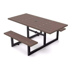 compliant 4+6 accessible picnic table in walnut